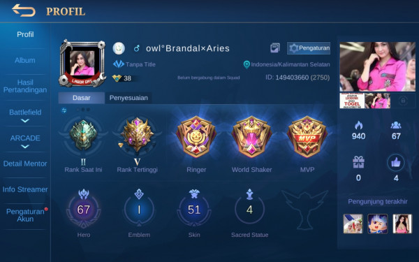 Akun Mobile Legend hero67 skin51 LimitZilong Aman