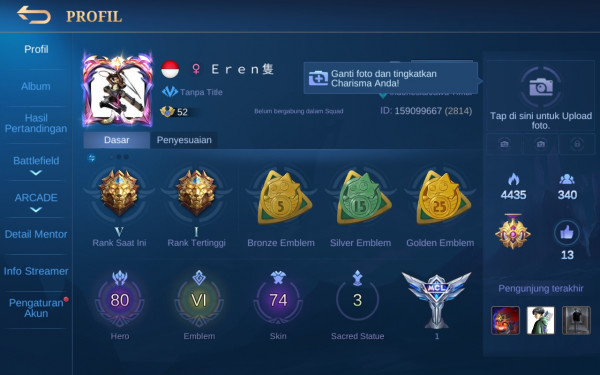 Akun Mobile Legend hero80 skin74 Allunbind Aman