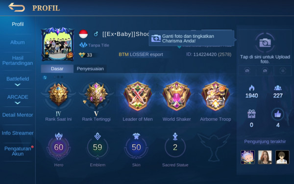 Akun Mobile Legend hero60 skin50 Allunbind Aman