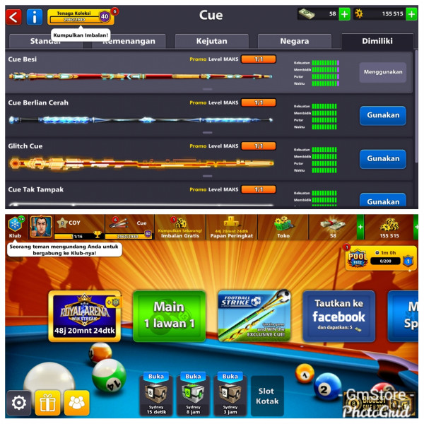 Akun Cue Level Max 4 | Coin 155K Miniclip