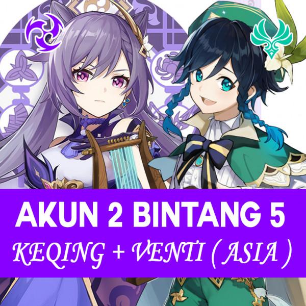 Akun KEQING + VENTI [ASIA] 2 SSR Bintang 5